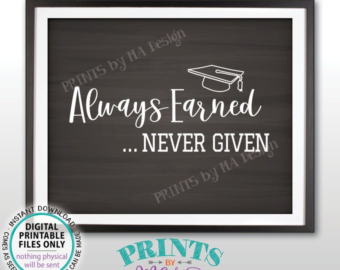 """Always Earned Never Given Graduation Quote, Graduation Party Decorations, Graduate Sign, PRINTABLE 8x10"""" Chalkboard Style Sign <ID>"""