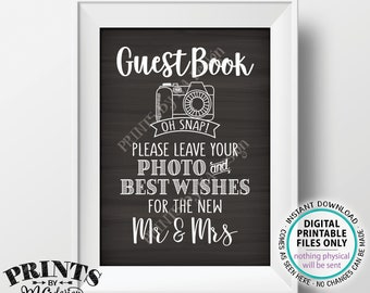"Guestbook Photo Sign, Leave Your Photo and Best Wishes for the New Mr & Mrs, PRINTABLE 5x7"" Chalkboard Style Wedding Sign <ID>"
