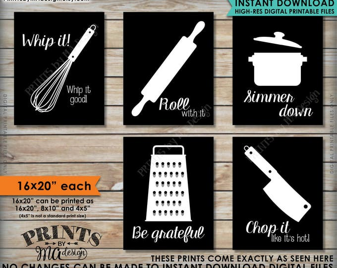 "Funny Kitchen Signs, Kitchen Decor Utensil Art, Whip It Grateful Roll Chop It Simmer, Five 16x20"" Black & White Printable Instant Downloads"