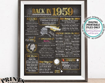 "Back in 1959 Poster Board, Remember 1959 Flashback Birthday Anniversary Reunion, USA History, PRINTABLE 16x20"" Sign <ID>"