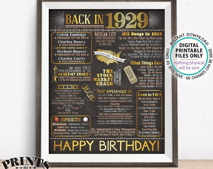 """1929 Birthday Flashback Poster, Back in 1929 Birthday Decorations, '29 B-day Gift, PRINTABLE 16x20"""" B-day Sign <ID>"""