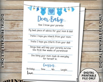 """Dear Baby Shower Activity, Baby Shower Game, Guessing Game, Baby Advice, Parent Advice, It's a Boy, Blue 5x7"""" Printable Instant Download"""