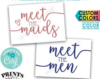 """Meet the Maids & Men Sign, Bridal Party Introduction, Bridesmaids Groomsmen Display, 2 PRINTABLE 5x7"""" Signs <Edit Color Yourself with Corjl>"""