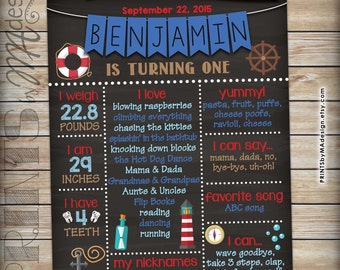 First Birthday Poster Nautical themed 1st Birthday Sign Anchor Stats Poster, Personalized Milestones Chalkboard Style PRINTABLE 8x10/16x20""