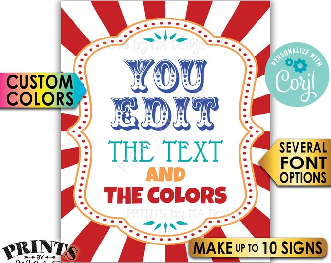 "Custom Carnival Sign, Carnival Theme, Circus Birthday Party, Make Up to 10 PRINTABLE 8x10/16x20"" Carnival Signs <Edit Yourself with Corjl>"