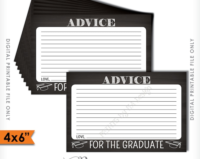 """Advice for Graduate, Please share your Advice with the Graduate Printable Chalkboard Card, 4x6"""" Instant Download Digital Printable File"""