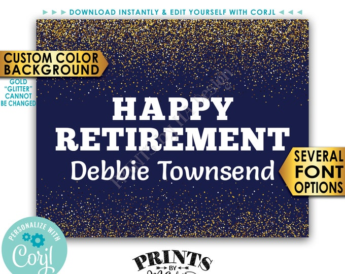 """Happy Retirement Sign, Retirement Party Decorations, Gold Glitter PRINTABLE 8x10/16x20"""" Retirement Party Sign <Edit Yourself with Corjl>"""