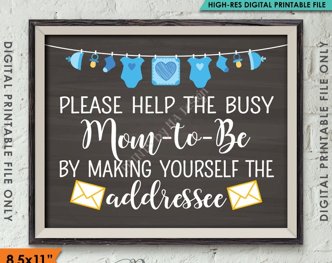 """Address an Envelope Baby Shower Help the Mom-to-Be Address Envelope, It's a Boy, Blue Clothesline, Chalkboard Style PRINTABLE 8.5x11"""" <ID>"""