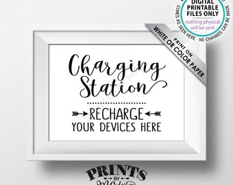 "Charging Station Sign, Recharge Your Devices Here, Charge Your Phone Charge Bar, Recharge Here, Low Battery, PRINTABLE 5x7"" Instant Download"