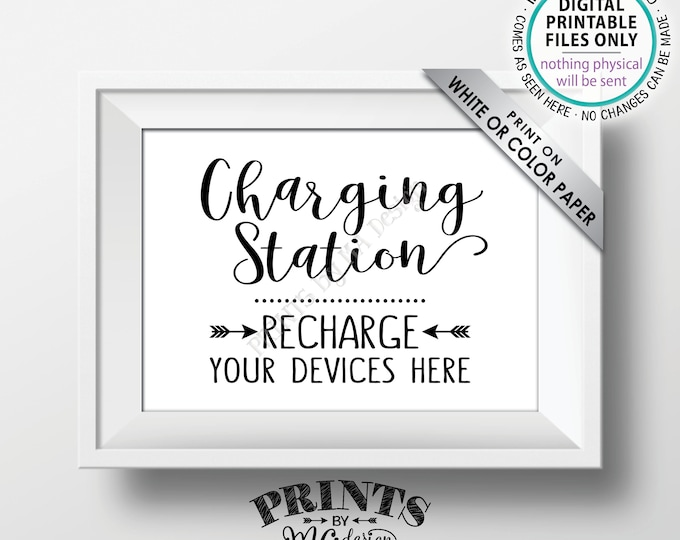 """Charging Station Sign, Recharge Your Devices Here, Charge Your Phone Charge Bar, Recharge Here, Low Battery, PRINTABLE 5x7"""" Instant Download"""