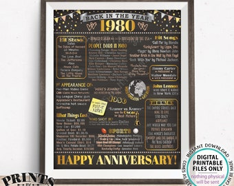"""1980 Anniversary Poster, Back in 1980 Anniversary Gift, Flashback to 1980 Party Decoration, PRINTABLE 16x20"""" Sign <ID>"""