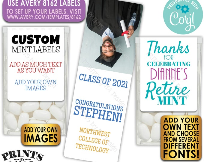 Custom Tic Tac Labels for Any Occasion, Mint Stickers with your own Text & Images, One PRINTABLE Avery 8162 Label <Edit Yourself with Corjl>