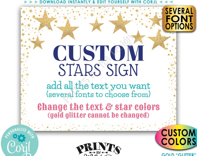 """Custom Stars Sign, Twinkle Twinkle, Choose Your Text and Colors, One PRINTABLE 8x10/16x20"""" Landscape Sign <Edit Yourself with Corjl>"""