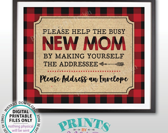 "Baby Shower Address an Envelope Sign, Make Yourself the Addressee for the Busy New Mom, PRINTABLE 8x10"" Lumberjack Style Sign <ID>"