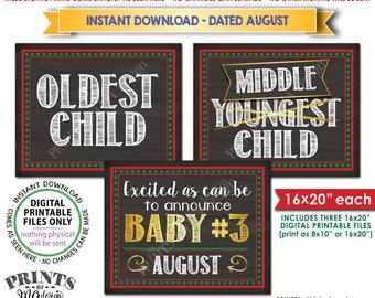 Christmas Pregnancy Announcement, Oldest Middle Youngest, 3rd Baby is due in AUGUST Dated Chalkboard Style PRINTABLE Baby Reveal Signs <ID>