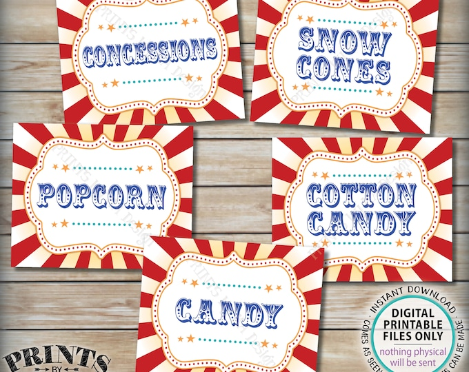 "Carnival Food Signs, Food Carnival Theme Party, Snacks, Cotton Candy, Ice Cream, Circus Theme Party, PRINTABLE 8x10/16x20"" Instant Downloads"