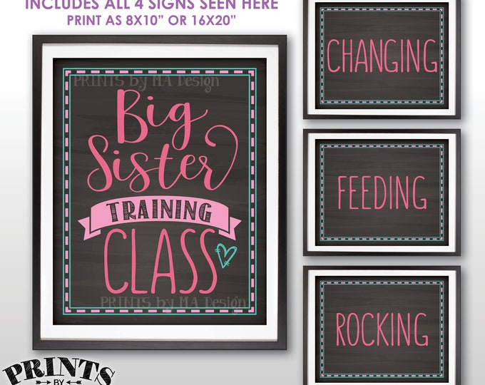 """Baby #2 Pregnancy Announcement, Big Sister Training Class Photo Props, 4 Chalkboard Style PRINTABLE 8x10/16x20"""" Signs <ID>"""