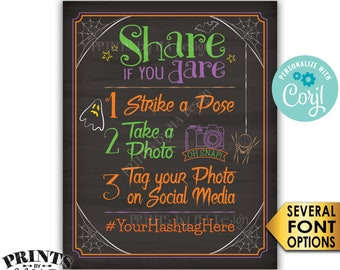 """Halloween Party Hashtag Sign, Share if you Dare Tag on Social Media, Chalkboard Style PRINTABLE 8x10/16x20"""" Sign <Edit Yourself with Corjl>"""
