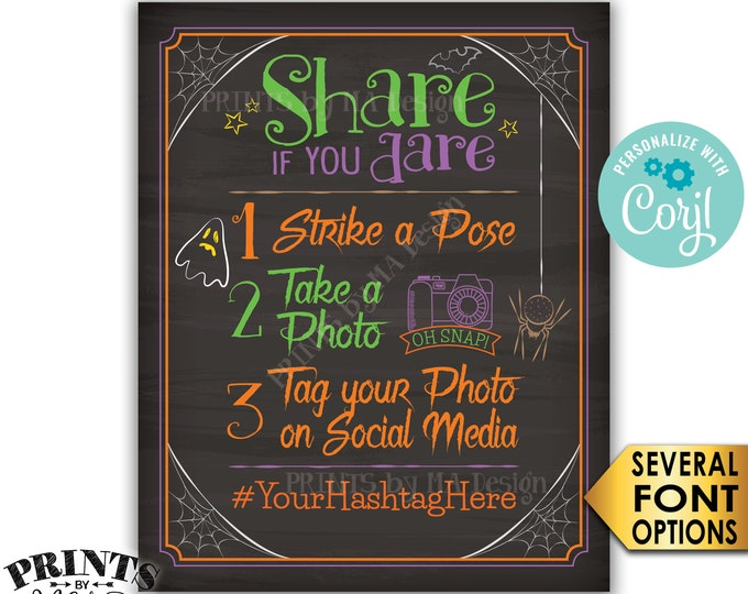 "Halloween Party Hashtag Sign, Share if you Dare Tag on Social Media, Chalkboard Style PRINTABLE 8x10/16x20"" Sign <Edit Yourself with Corjl>"