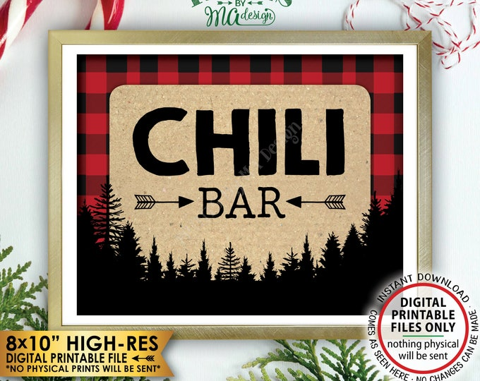 "Lumberjack Chili Bar Sign, Chili Station Sign, Red Checker Christmas Trees Decorations, Buffalo, PRINTABLE 8x10"" Instant Download Chili Sign"
