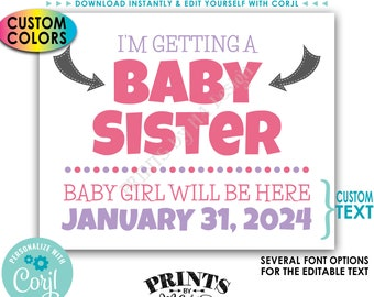 I'm Getting a Baby Sister Pregnancy Announcement, It's a Girl, Custom PRINTABLE Gender Reveal Sign <Edit Yourself with Corjl>