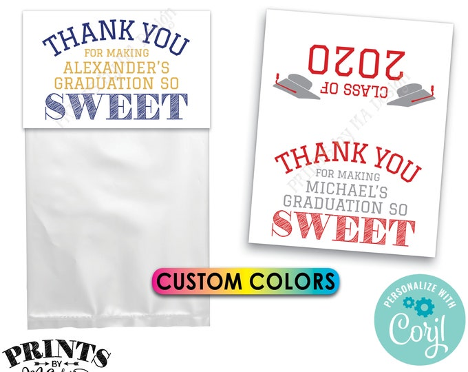 "Graduation Goodie Bag Labels, Graduation is Sweet Treat, Grad Party Favors, PRINTABLE 8.5x11"" Sheet of 4x5"" Cards <Edit Yourself with Corjl>"