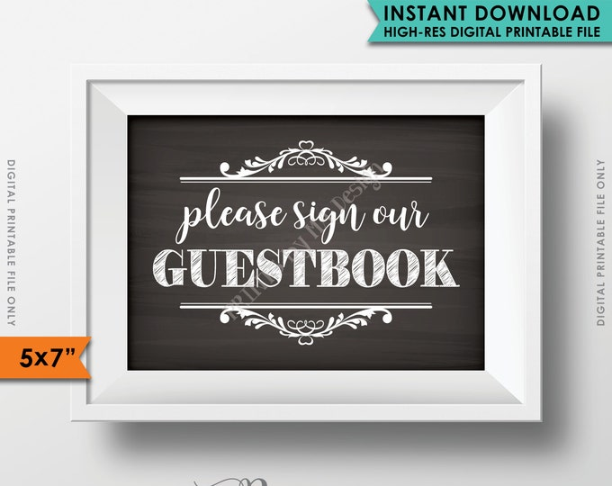 """Please Sign Our Guestbook Wedding Sign the Guest Book Sign, Sign Our Book, Reception, 5x7"""" Chalkboard Style Printable Instant Download"""