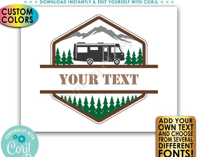 "Custom Motorhome Camper Sign, RV Camping Adventure, Choose Your Text & Colors, PRINTABLE 8x10/16x20"" Landscape Sign <Edit Yourself w/Corjl>"