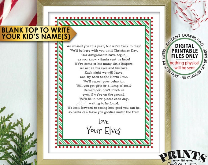 "Welcome Back Letter to Kids from their Christmas Elves, The Elves have Returned, Elf Hello Letter, PRINTABLE 8.5x11"" Sign <Instant Download>"