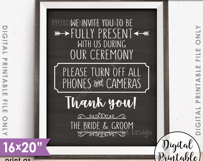 """Unplugged Ceremony Sign, Please No Phones or Cameras, No Devices, Unplugged Sign, PRINTABLE 8x10/16x20"""" Chalkboard Style Wedding Sign <ID>"""