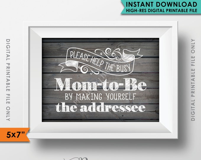 """Baby Shower Address Envelope Sign Help the Mom-to-Be Address an envelope Shower Decoration 5x7"""" Rustic Wood Style Printable Instant Download"""