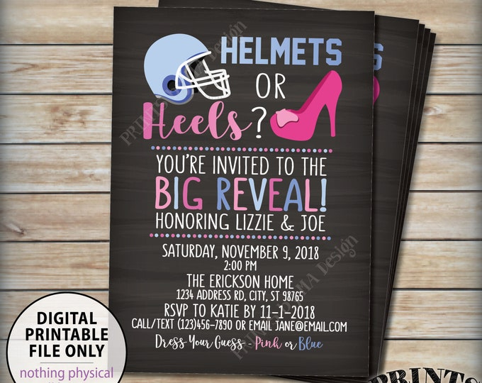 """Gender Reveal Party Invitation, Helmets or Heels Party Invite, Football, Pink Or Blue Invitation, PRINTABLE 5x7"""" Gender Reveal Invitation"""