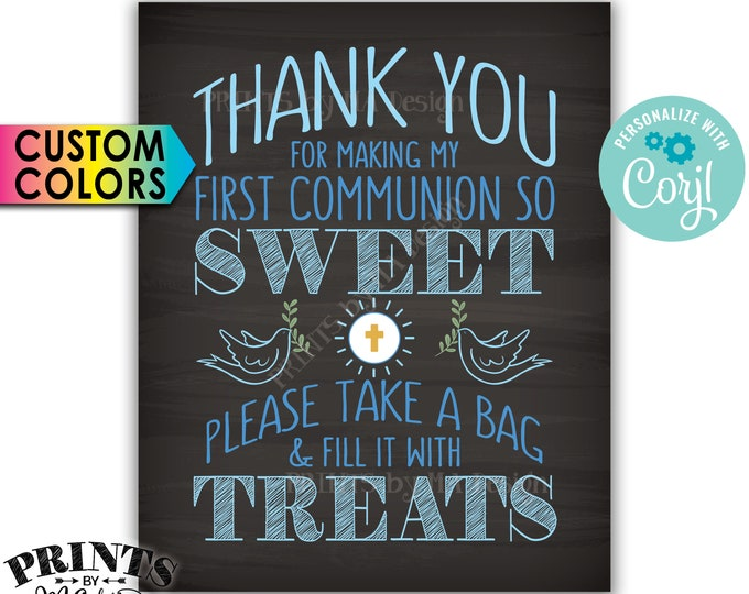 "Thank You for Making My First Communion so Sweet Please take a Bag and Fill it with Treats, PRINTABLE 8x10"" Sign <Edit Yourself with Corjl>"