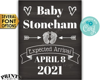 "Pregnancy Announcement, Baby's Expected Arrival, Twins, PRINTABLE 8x10/16x20"" Chalkboard Style Baby Reveal Sign <Edit Yourself with Corjl>"