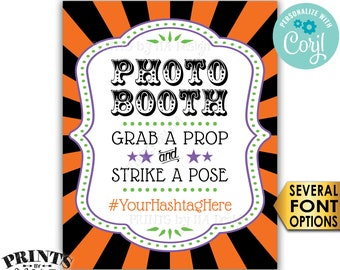 "Halloween Hashtag Sign, Grab a Prop & Strike a Pose, Carnival/Circus Party, PRINTABLE 8x10/16x20"" Photobooth Sign <Edit Yourself with Corjl>"