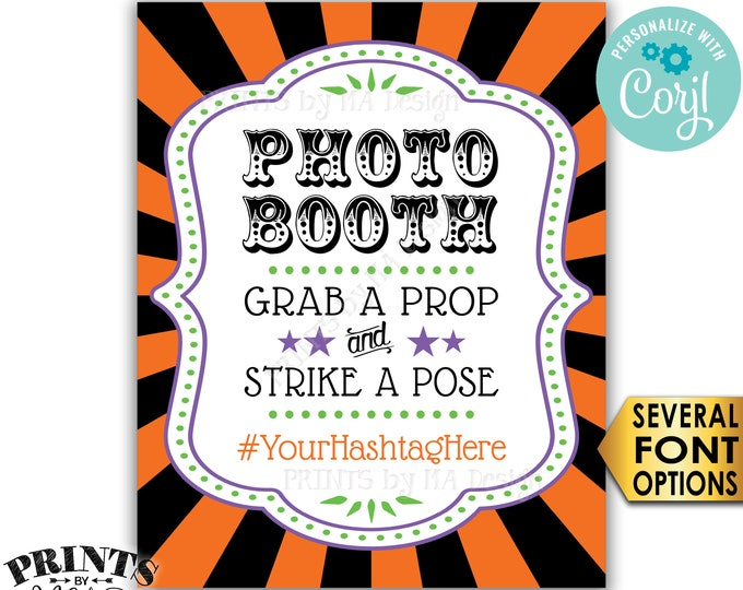 """Halloween Hashtag Sign, Grab a Prop & Strike a Pose, Carnival/Circus Party, PRINTABLE 8x10/16x20"""" Photobooth Sign <Edit Yourself with Corjl>"""