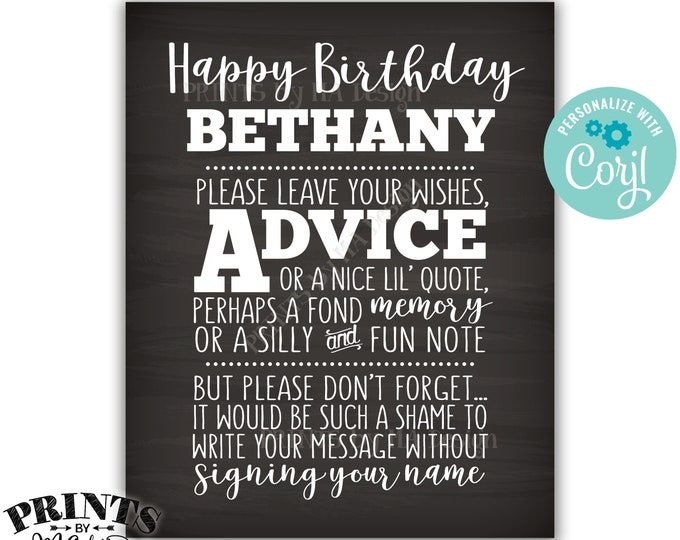 "Please Leave Your Advice Wish Memory Message, Birthday Party PRINTABLE 8x10"" Chalkboard Style B-day Sign <Edit Yourself with Corjl>"