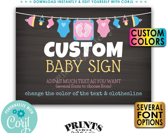 """Custom Baby Shower Sign, Choose Your Text & Colors, Clothesline, PRINTABLE 5x7"""" Chalkboard Style Landscape Sign <Edit Yourself with Corjl>"""