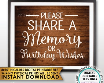 """Share a Memory or Birthday Wishes Sign, Write a Memory Share Memories Rustic Wood Style PRINTABLE 8x10"""" Instant Download Birthday Party Sign"""