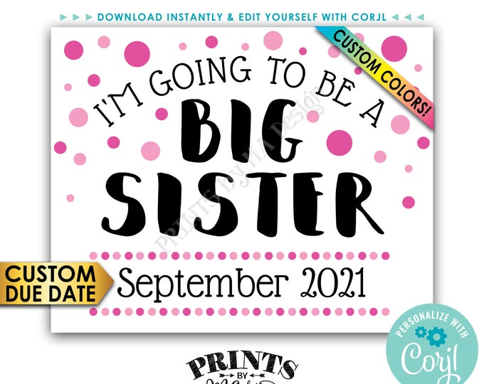 "Baby #2 Pregnancy Announcement Sign, I'm Going to Be a Big Sister, PRINTABLE 8x10/16x20"" Baby Number 2 Sign <Edit Yourself with Corjl>"