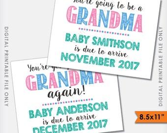 "You're Going to be a Grandma Sign, Grandma Announcement, Grandma Again, We're Pregnant/Expecting, PRINTABLE 8.5x11"" Digital File"
