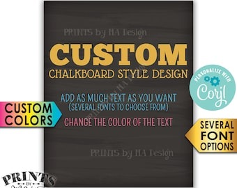 "Custom Chalkboard Style Sign, Choose Your Text and Colors, One PRINTABLE 8x10"" Portrait Sign <Edit Yourself with Corjl>"