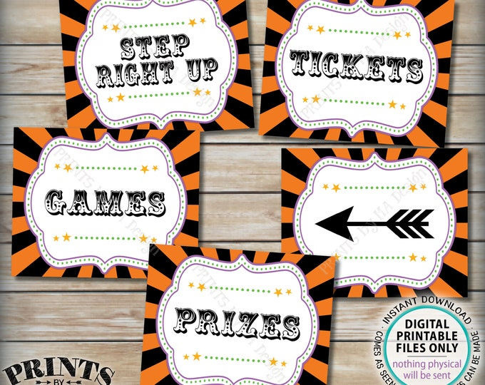 "Halloween Carnival Signs, Carnival Games, Prizes, Tickets, Arrow, Carnival Bundle Pack, Circus Party, Five PRINTABLE 8x10/16x20"" Signs <ID>"