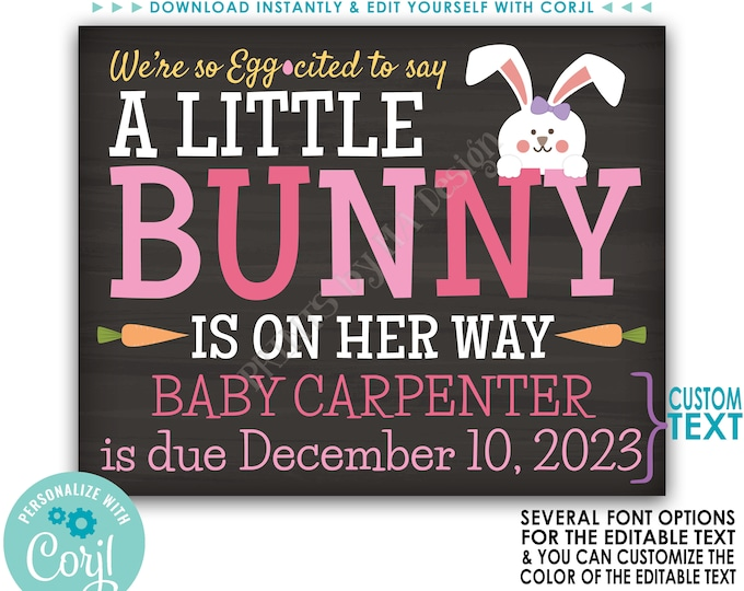 Easter Gender Reveal Pregnancy Announcement, A Little Bunny is on Her Way, Custom PRINTABLE Baby Girl Reveal Sign <Edit Yourself with Corjl>