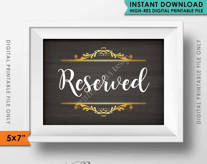 "Reserved Sign, Reserved Section, Reserved Area, Saved Seating, Reserved Wedding Sign, Party Sign, 5x7"" Instant Download Printable File"
