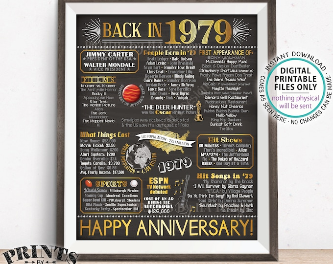 """1979 Anniversary Flashback Poster, Back in 1979, Anniversary Gift, 1979 Party Decoration, PRINTABLE 16x20"""" Sign <ID>"""