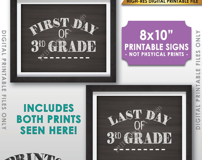 "First and Last Day of 3rd Grade, First Day of School & Last Day of School, Third Grade, 8x10"" Chalkboard Style Printable Instant Download"