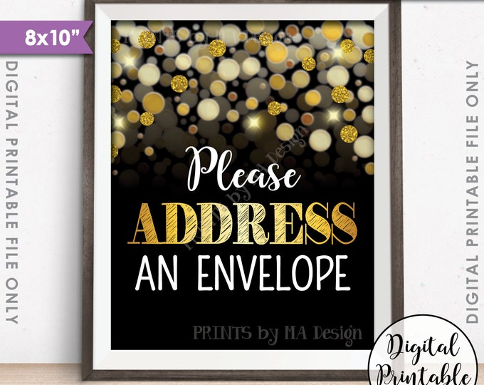 "Address an Envelope Sign, Addressee, Birthday, Anniversary, Retirement, Graduation, Black & Gold Glitter Instant Download 8x10"" Printable"