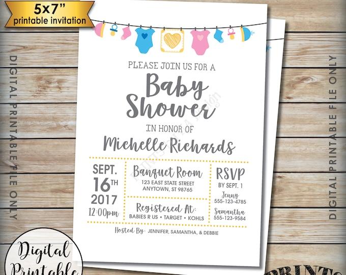 "Baby Shower Invitation, Gender Neutral Invite, Pink or Blue Invitation, Baby Clothesline, PRINTABLE 5x7"" Baby Shower Invite"