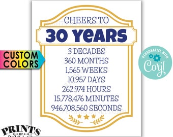 "Cheers to 30 Years, 30th Birthday, 30th Anniversary, Cheers & Beers Party, PRINTABLE 8x10/16x20"" Sign <Edit Colors Yourself with Corjl>"